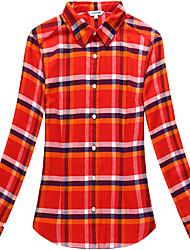 Women's Cotton Long Sleeve Check Blouse
