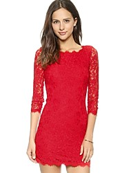 Summer Eyelash Lace Elegant Red Mini Bodycon Women Party Dress