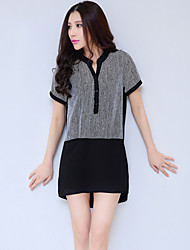 Women's Casual/Party/Work Short Sleeve Dresses (Polyester)