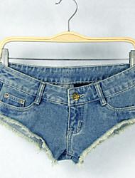 Women's Casual/Bodycon/Sexy/Beach Tassel Low Waist Short Jean Pants (Cotton/Demin)