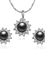 HKTC 18k White Gold Plated Crystal Gray Simulated Pearl Sun Flower Pendant Necklace and Earrings Set