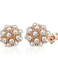 HKTC Elegant Simulated Pearl Ball Stud Earrings 18k Rose Gold Plated Fashion Party Jewelry