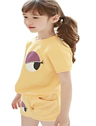 Kids Girls Summer Cartoon Big Eyes Tops + Short Pant 2PCS Suits Clothing Sets (Cotton Blends)