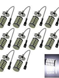 10X 127 1206 SMD LED H3 Bulb White Fog Light Parking Low High Beam Lamp DC 12V H059