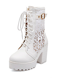 Women's Shoes Synthetic/Leatherette/Rubber Kitten Heel Heels/Fashion Boots/Bootie/Round Toe/Closed Toe Boots