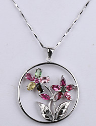Natural Brazil Tourmaline Round Ring Rose Flower Pendant S925 Sterling Silver Seeds Chain Necklace