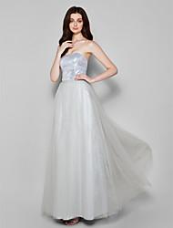 Floor-length Chiffon / Sequined Bridesmaid Dress - Silver Plus Sizes / Petite Sheath/Column Strapless