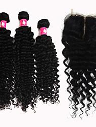 forawme brésilienne de cheveux vierge profonde vague 3 pièces avec 1 pc faisceaux de cheveux fermeture de la base de dentelle de cheveux