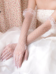 Wrist Length Fingertips Glove Net Bridal Gloves