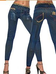 Pantalones ( Algodón Compuesto/Poliéster )- Sexy/Impresión Mujer