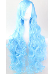 Cos Anime Bright Colored Wigs Water Blue Hair Wig 80 cm