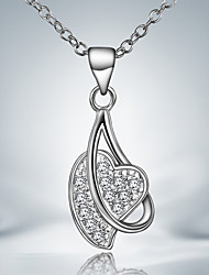 Casual Dress Silver Plated Heart Pendant Necklace
