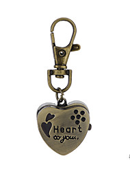 Unique Design Vintage Bronze Heart Pendant Pocket Watch Key Ring Watch For Men Women