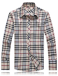 Men's Casual/Work/Formal/Plus Sizes Plaids & Checks Long Sleeve Regular Shirt (Cotton)