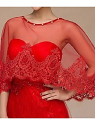 Wedding  Wraps Shawl Capelets Sleeveless Lace/Tulle Ruby / Red
