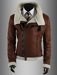 Men's Oblique Zipper Lamb Korean Leather Jacket Slim Cotton Coat