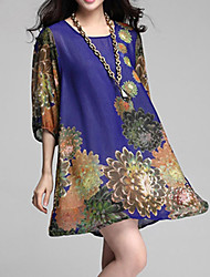 Women's Floral Plus Size Dress Mini