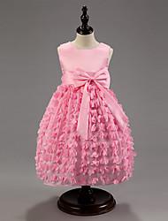 vestido de partido de la princesa cuello redondo de la muchacha (más colores)