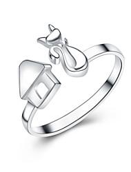 Jazlyn autentico platinato 925 capanna volpe d'argento anello regolabile