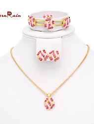Westernrain Best Gift for Your Girl /Gold plated Pink Stone Necklace Set /Children's gift jewelry for kid Baby
