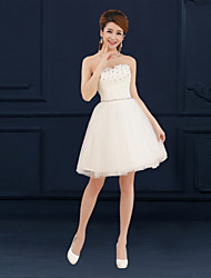 A-Line Sweetheart Short / Mini Tulle Bridesmaid Dress with Appliques