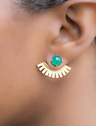 Stud Earrings Gemstone Alloy Fashion Green Blue Jewelry 2pcs