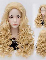 natuurlijke golf blonde kleur lang haar pruiken synthetische wave haar pruiken mode-stijl