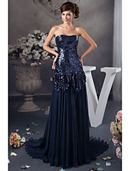 Formal Evening Dress - Dark Navy Petite A-line Strapless Floor-length Satin / Sequined