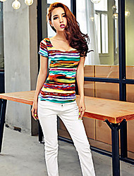 Women's Sexy Casual Stretchy Short Sleeve Regular T-shirt (Cotton)