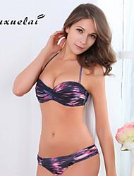 Bikinis Aux femmes Couleur Pleine/Fleur/Pois Soutien-gorge Rembourré/Soutien-gorge à Armatures Bandeau Nylon/Polyester
