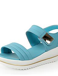 Zapatos de mujer - Tacón Bajo - Comfort - Sandalias - Exterior / Vestido / Casual - Cuero - Azul / Blanco