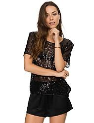 婦人向け クルーネック スパンコール Tシャツ , スパンコール/ポリエステル 半袖