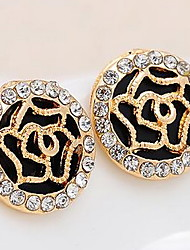Circular Hollow Out the Roses Diamond Stud Earrings