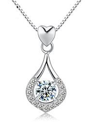jazlyn® donna platinato 925 in argento sterling cuore cadere completamente cubica collana pendente di zirconia per il regalo