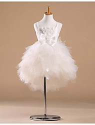 Flower Girl Dress Knee-length Satin/Tulle Princess Sleeveless Dress