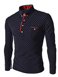Men's Casual/Work/Formal/Plus Sizes Print Long Sleeve Regular Shirt