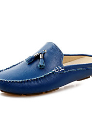 Men's Spring / Summer / Fall / Winter Round Toe Leather Casual Stitching Lace / Slip-on / Tassel Black / Blue / Brown / White
