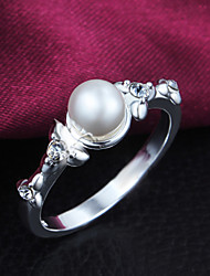 925 Silver Plated Party/Daily Elegant Pearl/Rhinestone Statement Rings 1pc