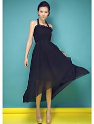 Women's Solid Dress , Sexy/Beach/Casual/Maxi Halter