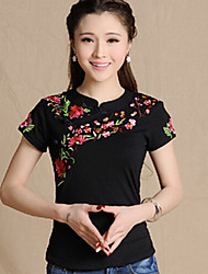 Women's Blue/Red/White/Black/Green T-shirt , Casual/Print V Neck Short Sleeve Embroidery
