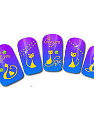 Cat Design Hot Stamping Nail Art Stickers