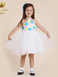 Girl White Satin Tulle With Flower Cutest Dress