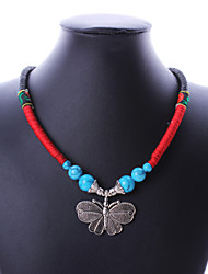 Women's Alloy/Fabric Bohemian Butterfly Pendant Necklace Vintage/Casual