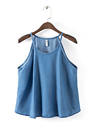 Women's Denim Top , Sexy/Casual/Party Strap Sleeveless