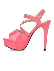 Zapatos de mujer - Tacón Stiletto - Punta Abierta - Sandalias - Oficina y Trabajo / Vestido / Fiesta y Noche - Semicuero -Negro /