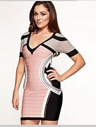 Cocktail Party Dress - Multi-color Petite Sheath/Column V-neck Short/Mini Spandex / Rayon / Nylon Taffeta