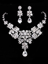 Masoo Women's Fashion Hot Selling High Quality Rhinestone Water Drop Necklace & Earrings Set