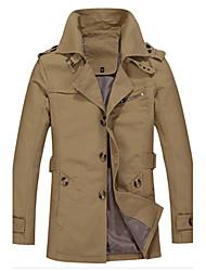Men's Pan Collar Coats & Jackets Plus Size, Cotton Long Sleeve Vintage / Casual Fashion Winter / Fall Yiku