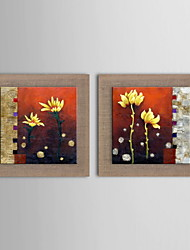 Oil Painting Modern Abstract Flowers Hand Painted Natural Linen with Stretched Framed - Set of 2