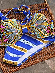 Women's Wireless Color Block Halter Bikinis (Nylon)